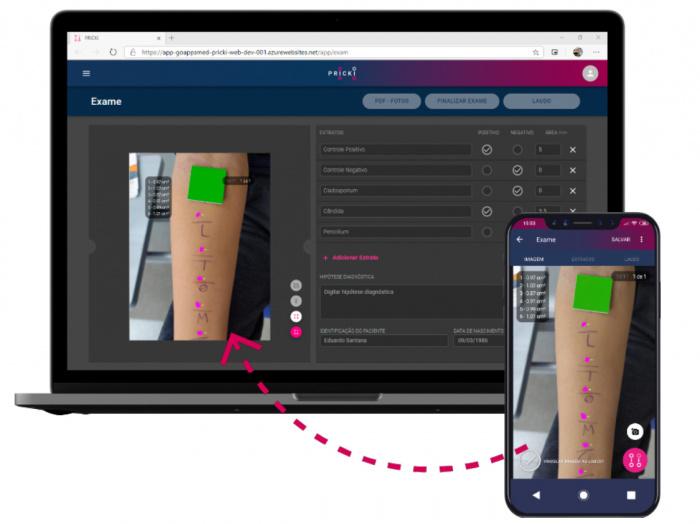 Tela de dispositivos que mostram aplicativo para Teste Alérgico de Puntura