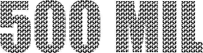 O texto '500 mil' composto por pequenas cruzes